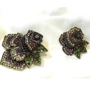 Joan Rivers Set of 2 Pave' Crystal Rose Brooches